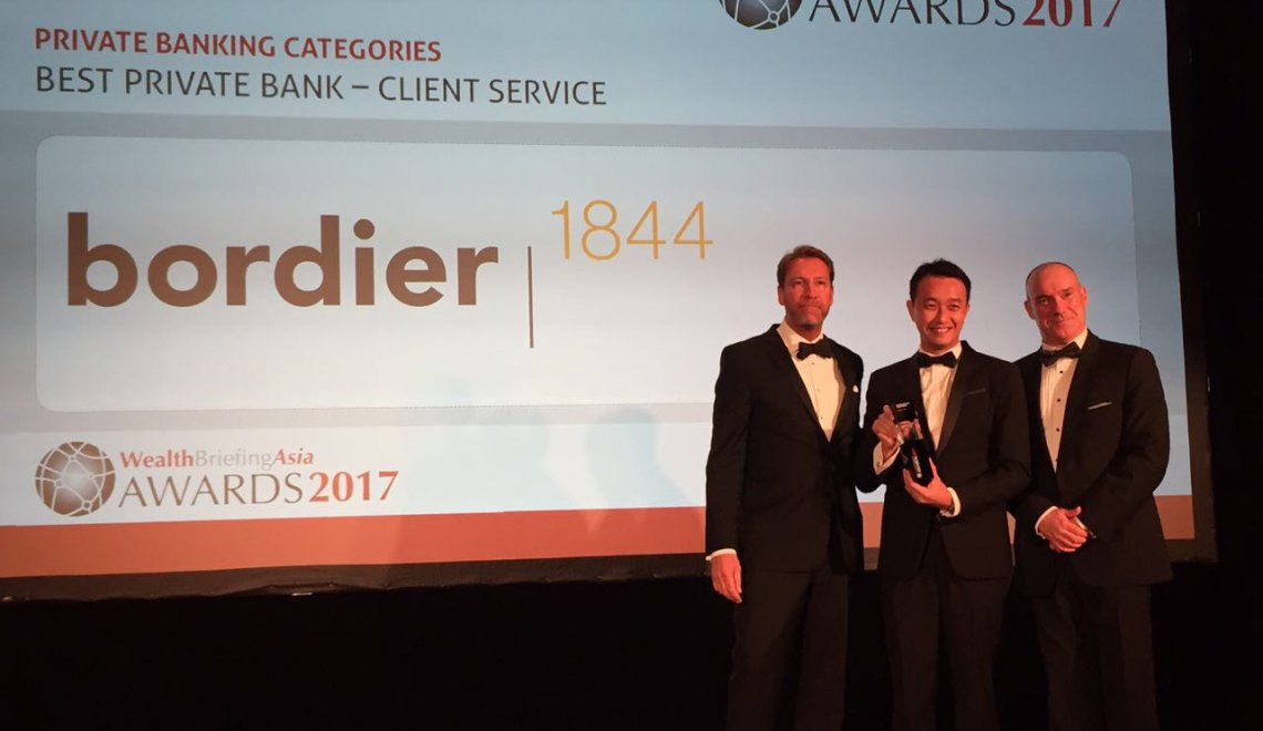 Bordier & Cie crowned Best Private Bank- Client Service at the WealthBriefingAsia Awards 2017